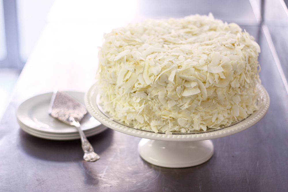 Cream Cake Decorated With Toasted Coconut Flakes