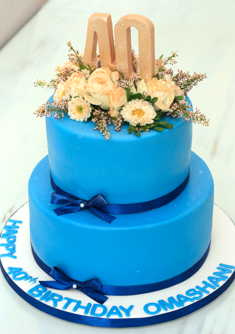 Flowery Blue Birthday Cake 180 Degrees Catering